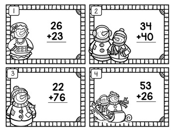 Addition of 2-Digit Numbers (No Renaming) Snowman Theme   Lifesaver Activity
