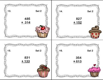 Addition of 3-Digit Numbers-No Regrouping-Valentine's Day Theme Task Cards