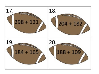 Addition of 3 Digit Numbers with Regrouping--Football Theme