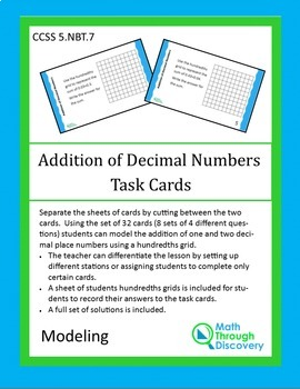 Addition of Decimal Numbers Task Cards