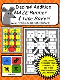 Addition of Decimals Maze Runner and Time Saver