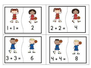 Addition of Doubles and Near Doubles Puzzles with a Basketball Theme