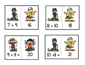 Addition of Doubles and Near Doubles Puzzles with a Fall Kids Theme