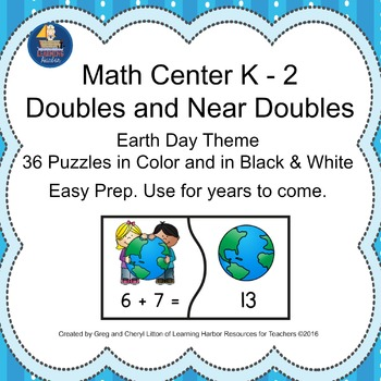 Math Center - Doubles and Near Doubles Puzzles with an Earth Day theme.