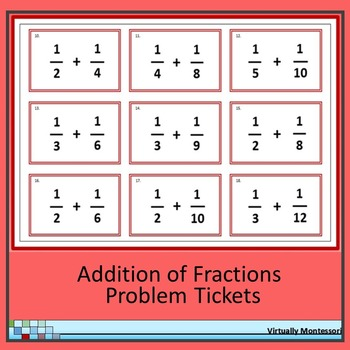 Adding Fractions Problem Tickets