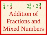 Addition of Fractions and Mixed Numbers, Math PowerPoint