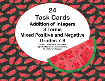 Addition of Integers-3 Terms-Mixed Positive and Negative-Grades 7-8-Task Cards