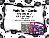 Addition of Integers-3 Terms-Mixed Positive and Negative Terms-Task Cards