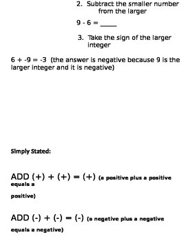 Addition of Integers Notes and Assignment