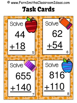 3rd Grade Go Math 1.7 Addition of Multi-Digit Whole Numbers To 1000 Task Cards