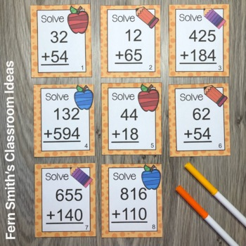 3rd Grade Go Math 1.7 Use Place Value to Add Multi-Digit Task Cards