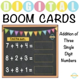 Addition of Three Single Digit Numbers - Boom Cards™