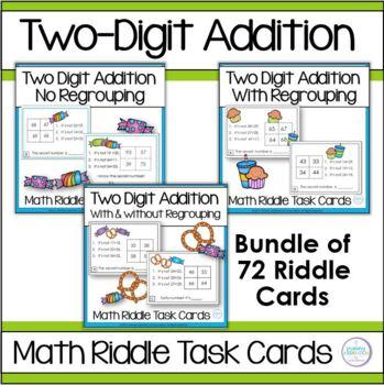 Adding Two-Digit Numbers Math Logic Task Card Bundle