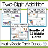 Adding Two Digit Numbers Math Riddle Task Card Bundle