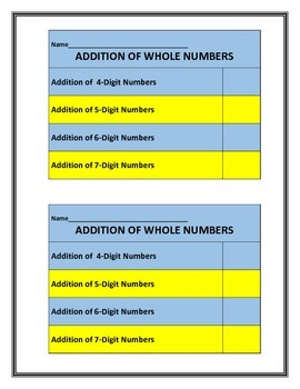 Addition of Whole Numbers - Leveled Practice - Fluency - through Millions Place