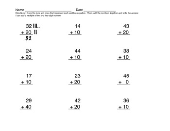 Addition of two-digit number and a multiple of ten - Common Core worksheets