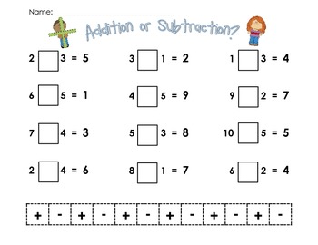 Addition or Subtraction Cut and Sort