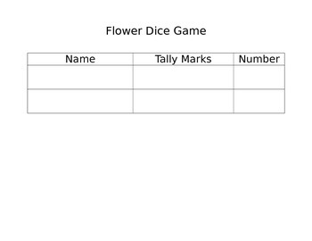 Addition or Subtraction Flower Roll a Dice Game