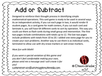 Addition or Subtraction - Sorting Game, Flash Cards