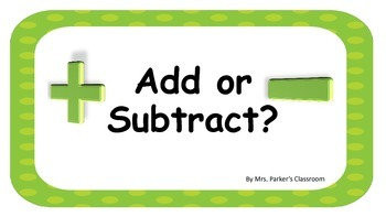 Addition or Subtraction Task cards