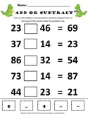 Addition or Subtraction Within 100 Dinosaur Activity