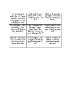 Addition or Subtraction Words/Word Problems