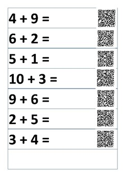 Addition problems with QR code link to answer