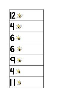 Addition sentence match - bumblebee theme