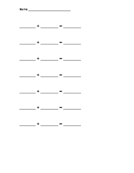 Addition sentence template