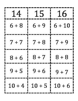 Addition sort 14, 15, 16