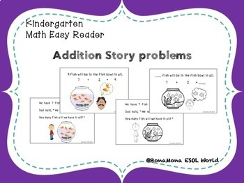 Kindergarten addition word problems- Math Easy Reader