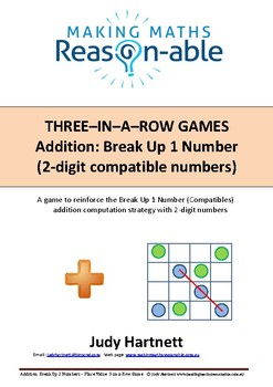Addition strategy - Break Up 1 number 2-digit compatible numbers 3-in-a-row game