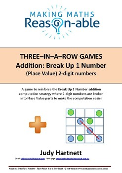 Addition strategy - Break Up 1 number (2-digit place value) 3-in-a-row game