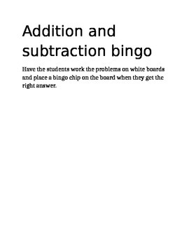Addition subtraction bingo