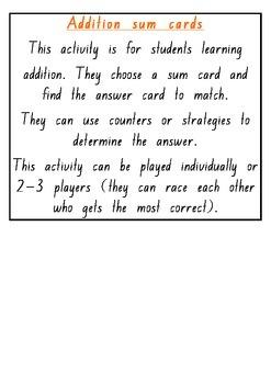 Addition sum cards
