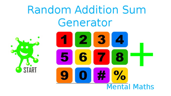 Addition sum generator for Junior school children