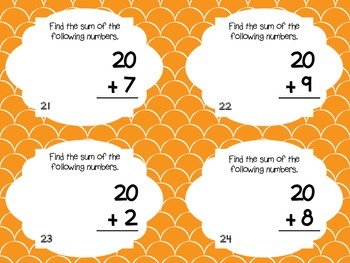 Adding 10 and 20 to a Number Task Cards