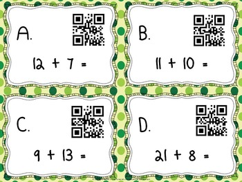 Addition task cards with QR codes for self assessment