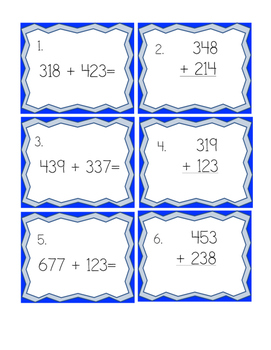 Addition to 1,000 task cards with regrouping