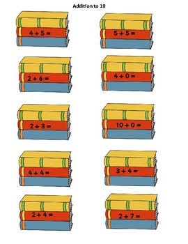 Addition to 10, 20, 50 differentiated book stacking activity