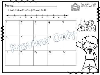 Addition to 10 ~ Back to School Math Center ~ SCOOT Task Cards