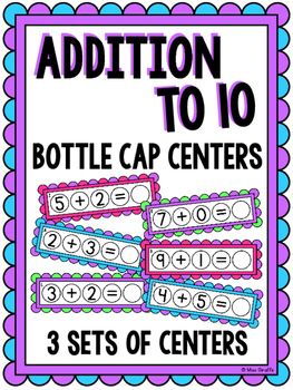 Addition to 10 Bottle Cap Math Centers