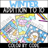 Winter Addition to 10 | No Prep Color By Number Activities