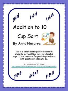 Addition to 10 Cup Sort
