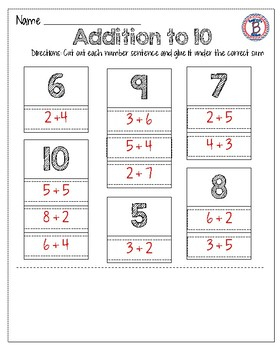 Addition to 10 Cut & Paste Worksheets