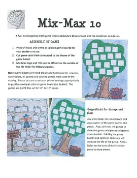 Combinations of 10 (Decomposing Numbers) Mix-Max 10 Freebie