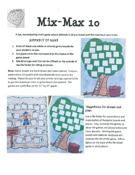 Combinations of 10 (Decomposing Numbers) Mix-Max 10 Winter Themes