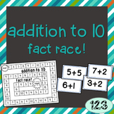 Addition to 10 Fact Race Game