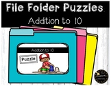 Addition Game to 10 File Folder Puzzles Summer Theme