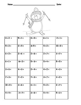 Addition to 10 Fluency Facts Drill Practice: Penguins